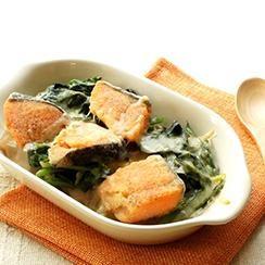 鮭のザクロホワイトソース グラタン